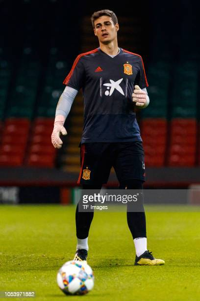 Kepa Arrizabalaga of Spain looks on during a training session on October 10 2018 in Cardiff Wales
