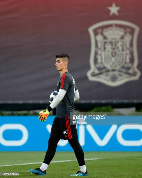 Kepa Arrizabalaga of Spain looks on during a training session on June 8 2018 in Krasnodar Russia