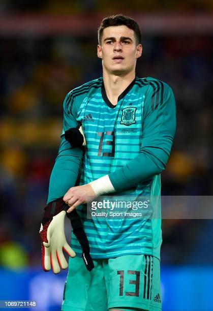 Kepa Arrizabalaga of Spain looks on prior to the international friendly match between Spain and Bosnia Herzegovina at Estadio de Gran Canaria on...