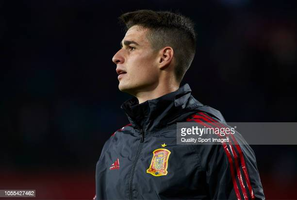 Kepa Arrizabalaga of Spain looks on prior to the UEFA Nations League A group four match between Spain and England at Estadio Benito Villamarin on...