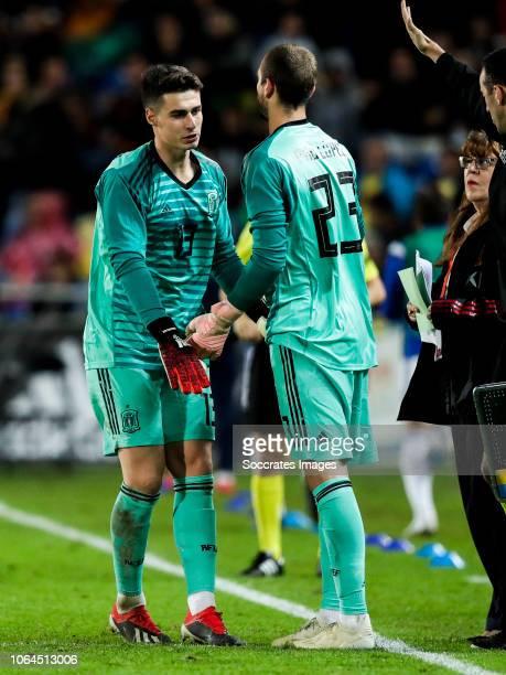 Kepa Arrizabalaga of Spain Pau Lopez of Spain during the UEFA Nations league match between Spain v Bosnia and Herzegovina at the Estadio de Gran...