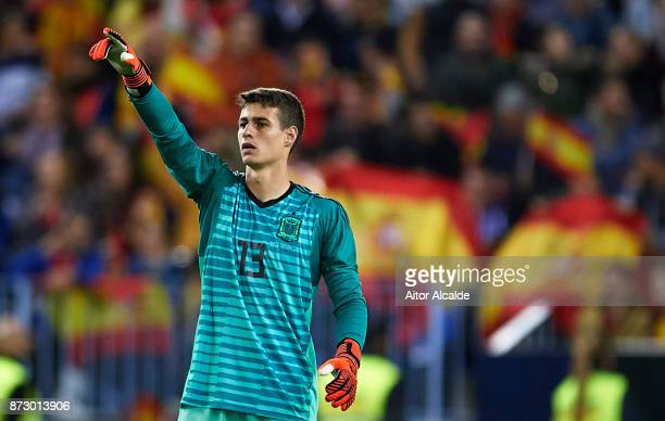 Kepa Arrizabalaga of Spain reacts during the international friendly match between Spain and Costa Rica at La Rosaleda Stadium on November 11 2017 in...
