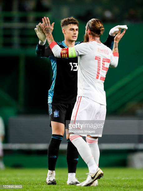 Kepa Arrizabalaga of Spain Sergio Ramos of Spain during the International Friendly match between Portugal v Spain at the Jose Alvalade stadium on...