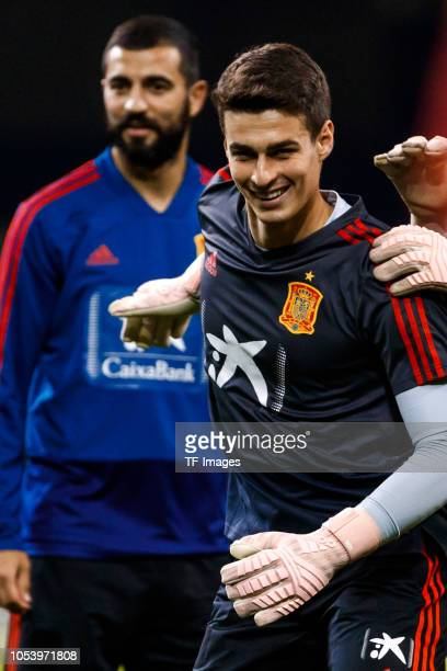 Kepa Arrizabalaga of Spain smiles during a training session on October 10 2018 in Cardiff Wales