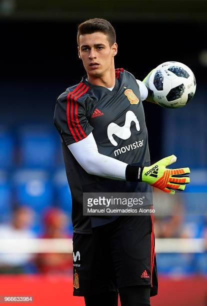 Kepa Arrizabalaga of Spain warm up during the International Friendly match between Spain and Switzerland at Estadio de La Ceramica on June 3 2018 in...