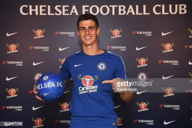 Kepa Arrizabalaga signs for Chelsea at Chelsea Training Ground on August 8 2018 in Cobham England