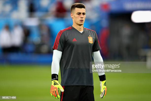 Kepa Arrizabalanga of Spain prepares before the 2018 FIFA World Cup Russia group B match between Spain and Morocco at Kaliningrad Stadium on June 25...