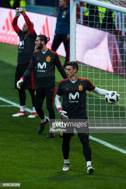 Kepa De Gea Reina during the training of the Spanish soccer team before the friendly match between Spain and Argentina on March 27 2018 Wanda...