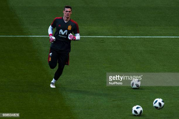 Kepa during the training of the Spanish soccer team before the friendly match between Spain and Argentina on March 27 2018 Wanda Metropolitano...