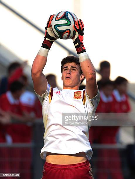 Kepa goalkeeper of Spain catches the ball prior the UEFA European Under21 Championship playoff second leg match between Spain and Serbia at the...