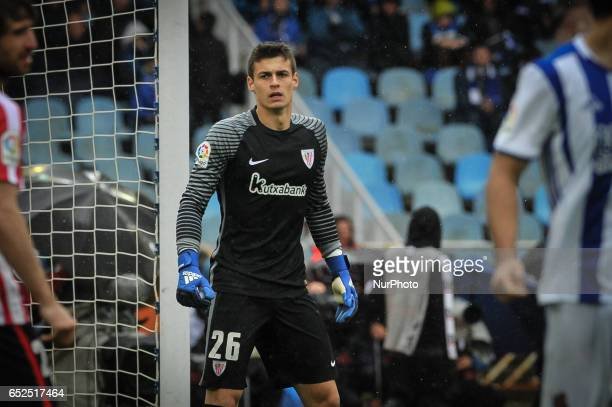 Kepa of Athletic Club during the Spanish league football match between Real Sociedad and Atlhetic Club at the Anoeta Stadium in San Sebastian on 12...