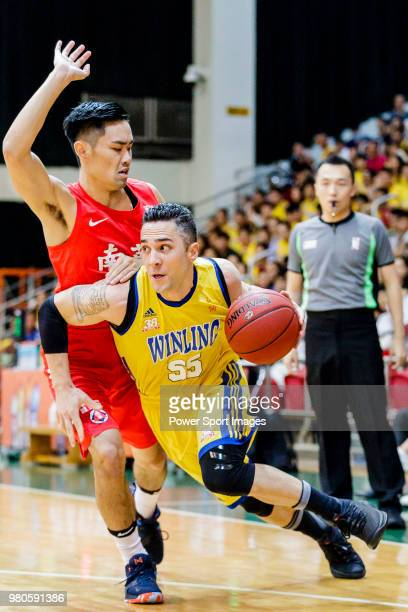 Kepkey Tyler Alexander of Winling Basketball Club goes to the basket against the SCAA during the Hong Kong Basketball League game between SCAA vs...