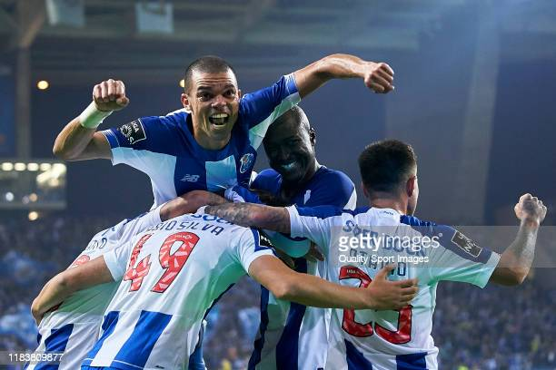 Kepler Lima 'Pepe' of FC Porto celebrates his team's third goal scored by Fabio Silva during the Liga Nos match berween FC Porto and FC Famalicao at...