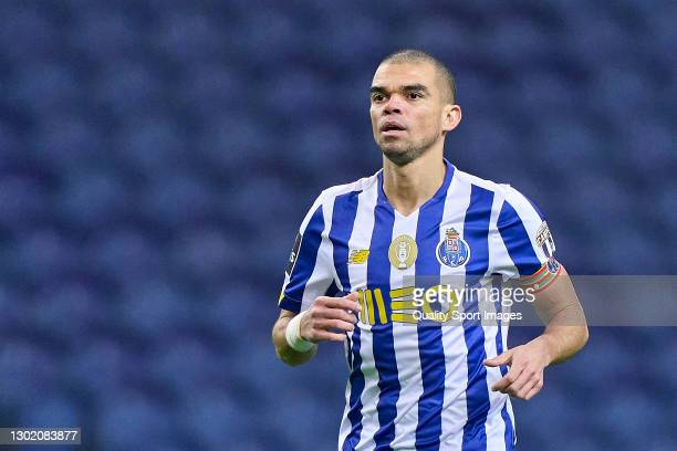 Kepler Lima 'Pepe' of FC Porto looks on during the Liga NOS match between FC Porto and Boavista FC at Estadio do Dragao on February 13, 2021 in...