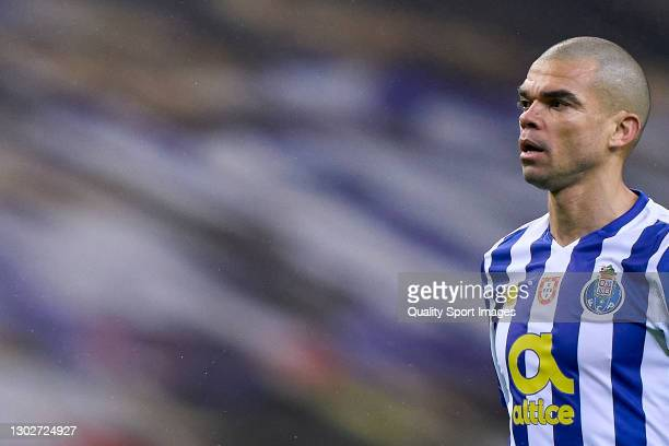 Kepler Lima 'Pepe' of FC Porto looks on during the UEFA Champions League Round of 16 match between FC Porto and Juventus at Estadio do Dragao on...