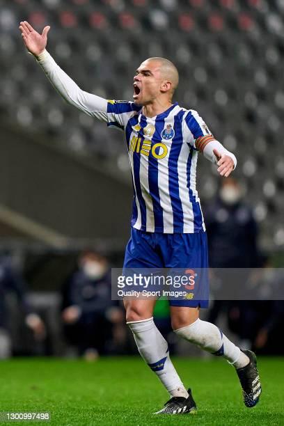 Kepler Lima 'Pepe' of FC Porto reacts during the Liga NOS match between SC Braga and FC Porto at Estadio Municipal de Braga on February 07, 2021 in...