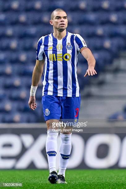 Kepler Lima 'Pepe' of FC Porto reacts during the Liga NOS match between FC Porto and Boavista FC at Estadio do Dragao on February 13, 2021 in Porto,...