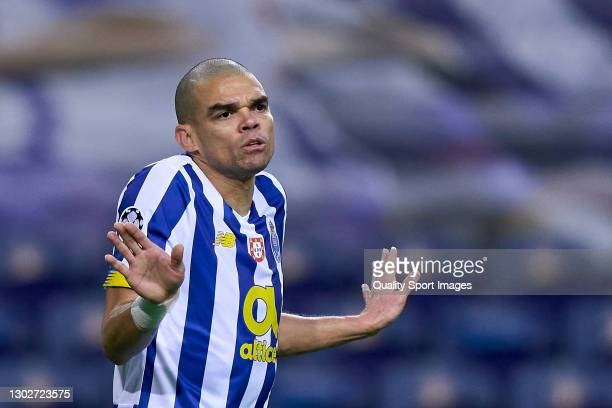 Kepler Lima 'Pepe' of FC Porto reacts during the UEFA Champions League Round of 16 match between FC Porto and Juventus at Estadio do Dragao on...