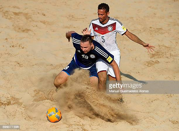 Kepper Sousa da Silva of Germany competes for the ball with Tyulpa Vitaliy of Kazakhstan during the FIFA Beach Soccer World Cup 2017 Qualifier Europe...