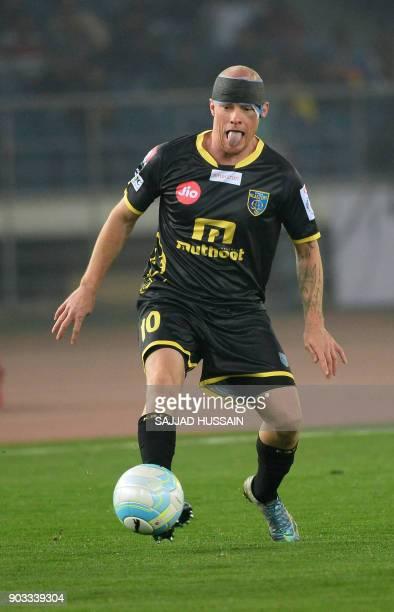 Kerala Blaster player Ian Edward Hume controls the ball during the Hero ISL football match between Delhi Dynamos FC and Kerala Blaster at the Jawahir...
