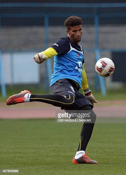 Kerala Blasters FC footballer David James trains on the eve of their Indian Super League football match against Atletico De Kolkata at The Salt Lake...