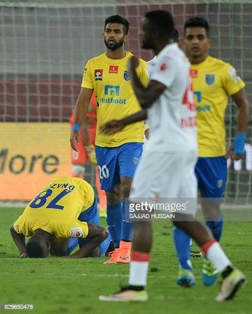 Kerala Blasters FC forward Duckens Nazon celebrates after scoring a goal against Delhi Dynamos FC during the second leg of the second semifinal...