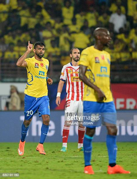 Kerala Blasters FC forward Mohammad Rafi celebrates after he scores a goal against Atletico de Kolkata during the final Indian Super League football...