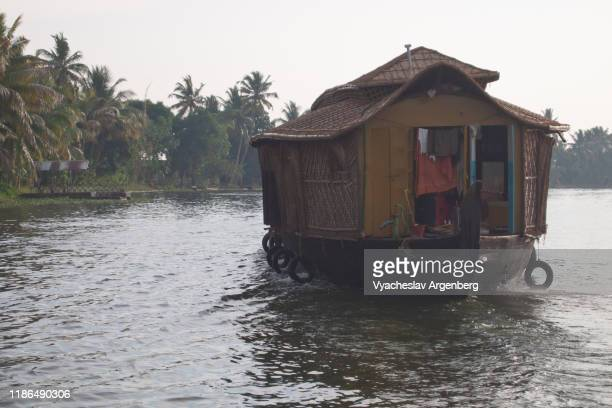 kerala cruise in houseboat, vembanad lake, india - argenberg stock pictures, royalty-free photos & images