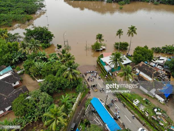 kerala flood 2108 (aluva region) - flooding stock photos and pictures