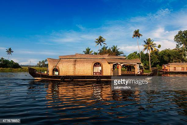 kerala houseboat, india. - houseboat stock pictures, royalty-free photos & images