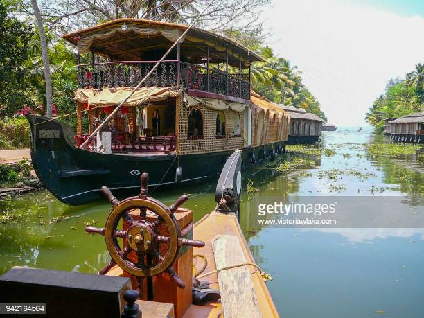 kerala houseboats in alleppey - houseboat stock pictures, royalty-free photos & images