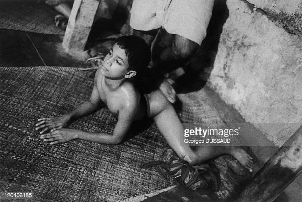 Kerala India in 1999 Kathakali school in kalamandalam kerala india august 1999 A dancer is massaged before dancing