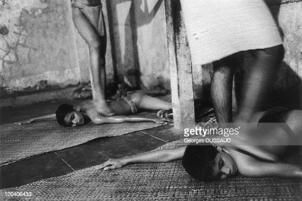 Kerala India Kalamandalam school of Kathakali training thee night during the monsoon sessions of massages