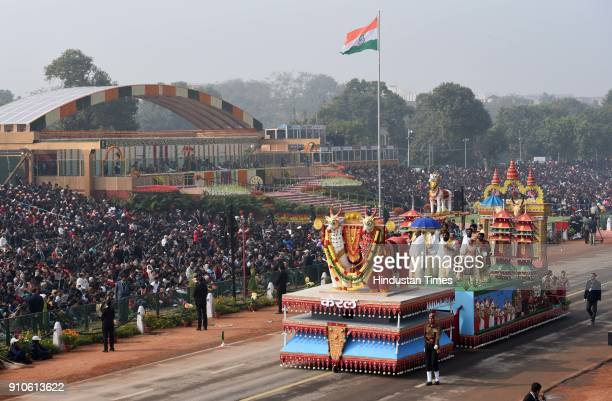 Kerala tableaux passes through the saluting base during the 69th Republic Day Parade, at Rajpath, on January 26, 2018 in New Delhi, India. India...
