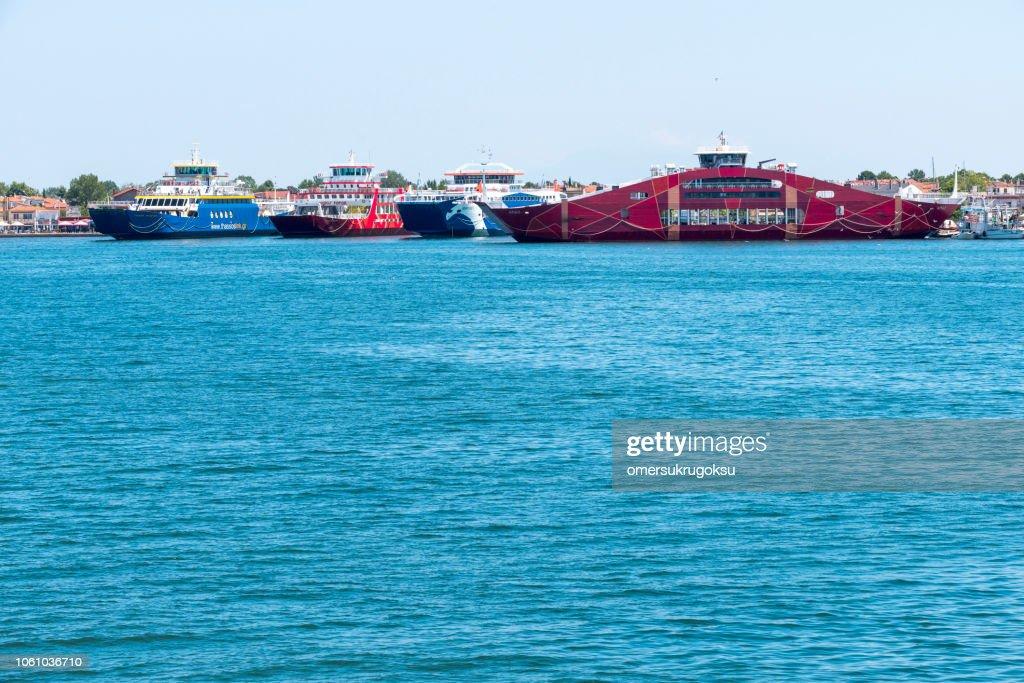 Keramoti seaport in Greece : Stock Photo