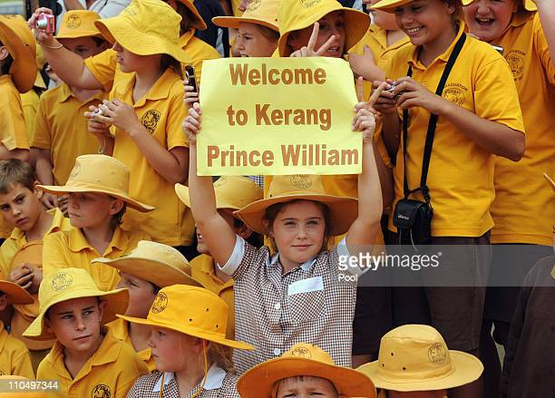 Kerang South Primary School students prepare to greet HRH Prince William on March 21 2011 in Kerang Australia His Royal Highness is in Victoria to...