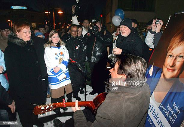 Incumbent Tarja Halonen visits Kerava 27 January 2006 a small town 30 km north of Helsinki where an admirer plays a serenade for Halonen at the local...