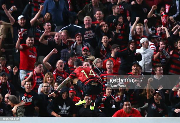 Kerem Bulut of the Wanderers celebrates after scoring his teams first goal during the Asian Champions League match between the Western Sydney...