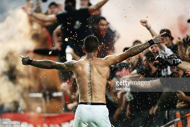 Kerem Bulut of the Wanderers celebrates scoring his second goal during the round 19 ALeague match between the Western Sydney Wanderers and Sydney FC...