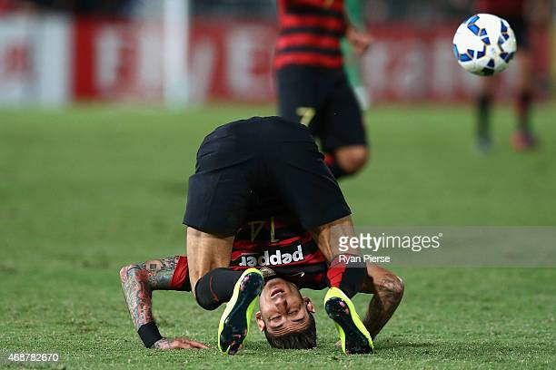 Kerem Bulut of the Wanderers competes for the ball during the Asian Champions League match between the Western Sydney Wanderers and FC Seoul at...