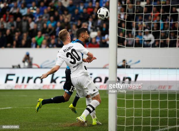 Kerem Demirbay of 1899 Hoffenheim scores his second goal during the Bundesliga match between TSG 1899 Hoffenheim and Borussia Moenchengladbach at...