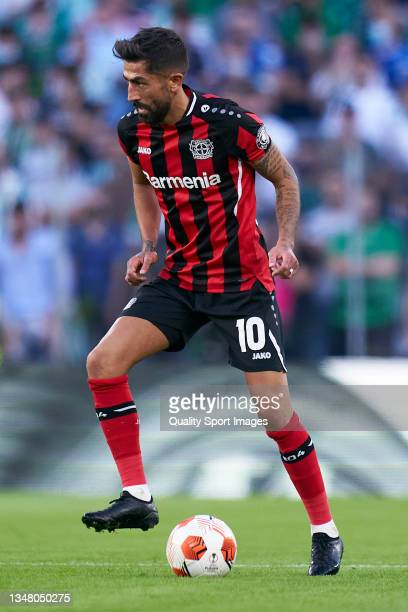 Kerem Demirbay of Bayer Leverkusen controls the ball during the UEFA Europa League group G match between Real Betis and Bayer Leverkusen at Estadio...