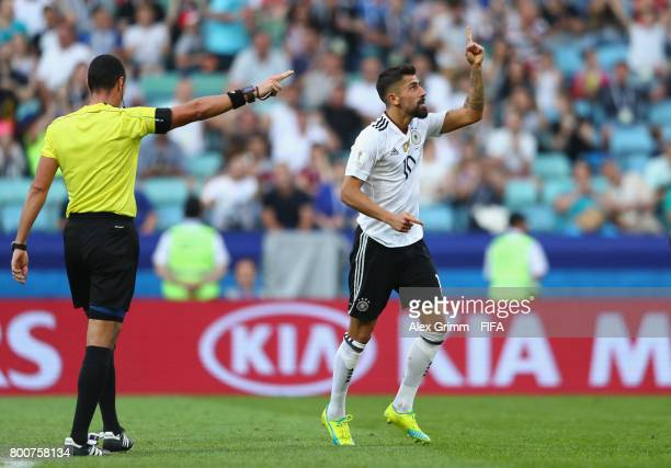 Kerem Demirbay of Germany celebrates scoring his sides first goal during the FIFA Confederations Cup Russia 2017 Group B match between Germany and...