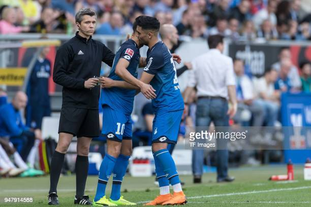 Kerem Demirbay of Hoffenheim comes on as a substitute for Nadiem Amiri of Hoffenheim during the Bundesliga match between TSG 1899 Hoffenheim and...