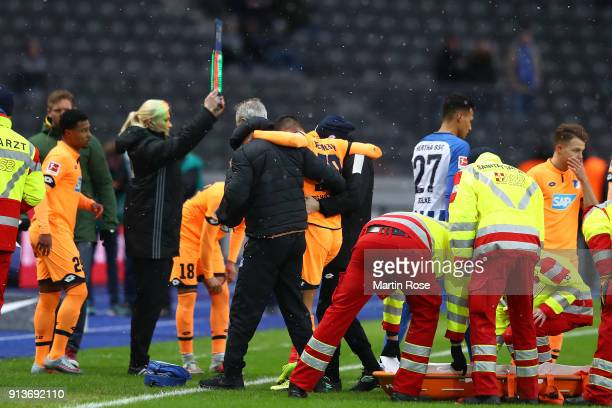 Kerem Demirbay of Hoffenheim is carried of the pitch injured during the Bundesliga match between Hertha BSC and TSG 1899 Hoffenheim at Olympiastadion...