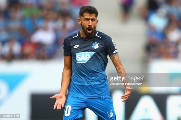 Kerem Demirbay of Hoffenheim reacts during the Bundesliga match between TSG 1899 Hoffenheim and SV Werder Bremen at Wirsol RheinNeckarArena on August...