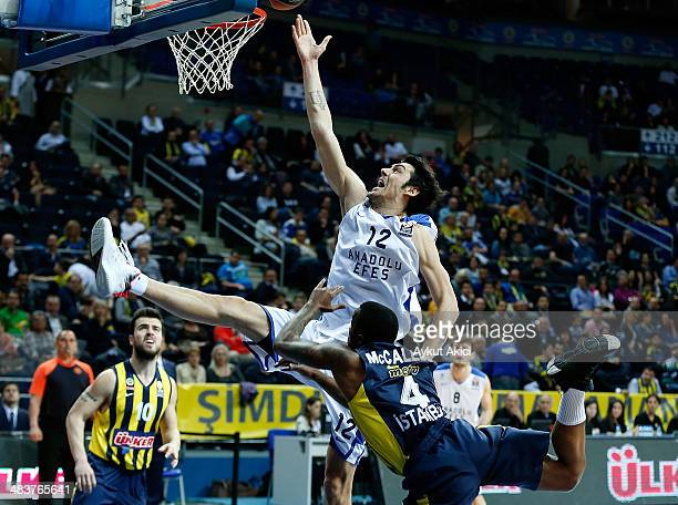 Kerem Gonlum #12 of Anadolu Efes Istanbul in action during the 20132014 Turkish Airlines Euroleague Top 16 Date 14 game between Fenerbahce Ulker...