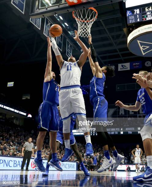Kerem Kanter of the Xavier Musketeers shoots the ball against the Creighton Bluejays at Cintas Center on January 13 2018 in Cincinnati Ohio