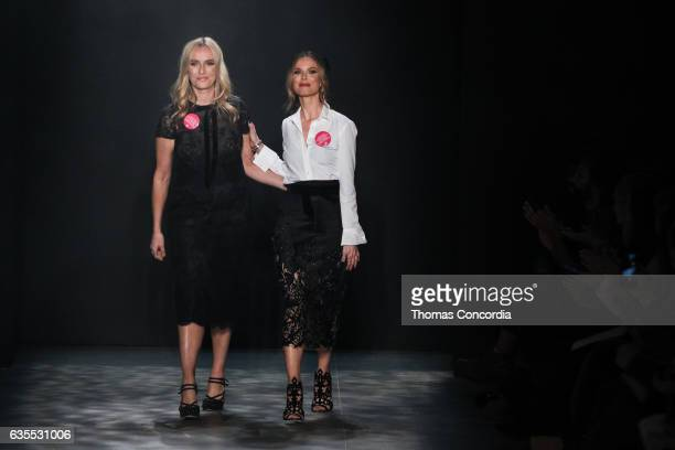 Keren Craig and Georgina Chapman greet the audience after presenting the Marchesa Fall 2017 collection at Gallery 2 Skylight Clarkson Sq on February...