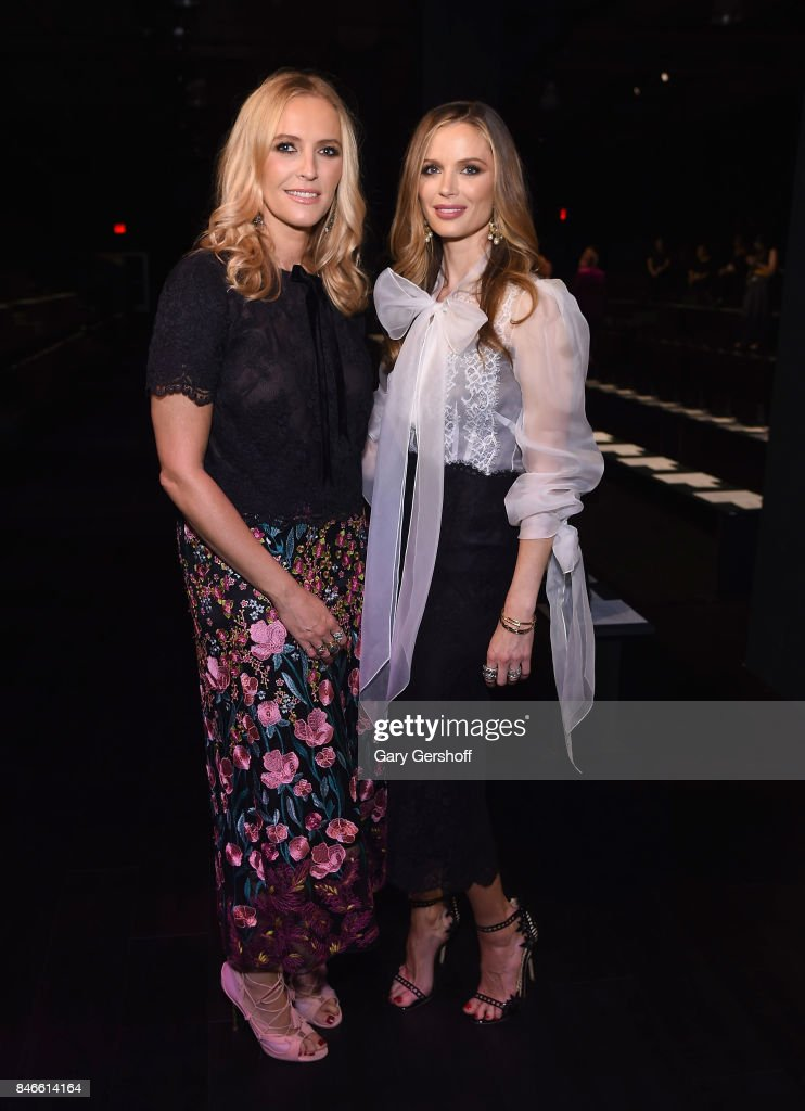 Keren Craig (L) and Georgina Chapman pose prior to the Marchesa fashion show during New York Fashion Week at Gallery 1, Skylight Clarkson Sq on September 13, 2017 in New York City.